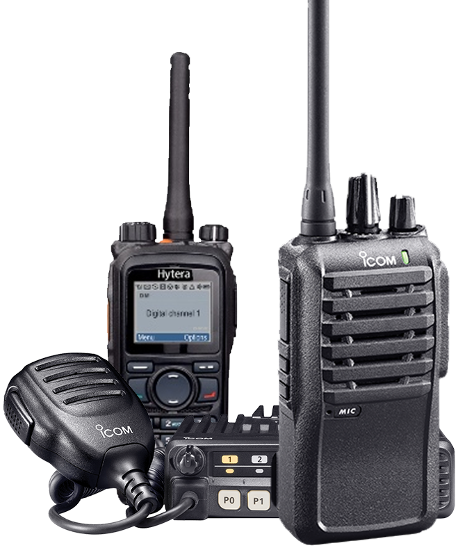 Three Large Hytera and iCOM Radios | Two Way Radios for Security, Safety and Business - Fast Radios, Inc.